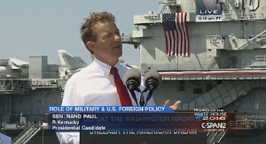 Rand Paul Launches Foreign Policy Counter Attack From World War II Aircraft Carrier U.S.S. Yorktown