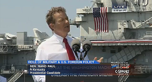 Rand Paul Launches Foreign Policy Counterattack From WWII Aircraft Carrier
